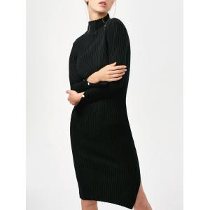Long Sleeve Side Slit Bodycon Sweater Dress - Black - One Size