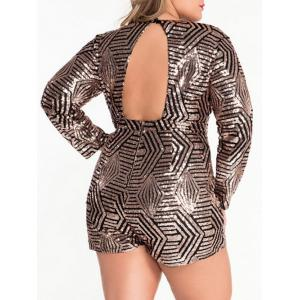 Plunging Neck Cut Out Sparkly Romper -
