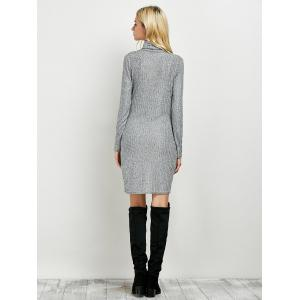 Turtleneck Ruched Knitted Dress -