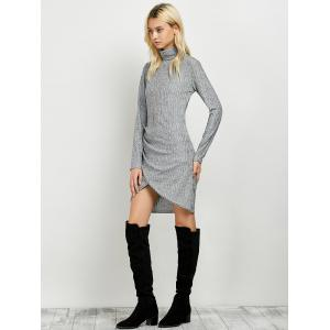 Turtleneck Ruched Knitted Dress - GRAY XL