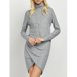 Turtleneck Ruched Knitted Dress - Gray - S