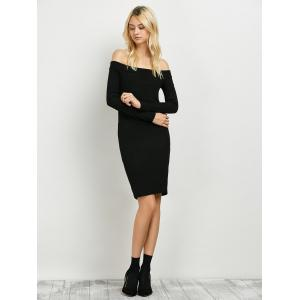 Long Sleeve Off The Shoulder Knitted Club Dress - BLACK XL