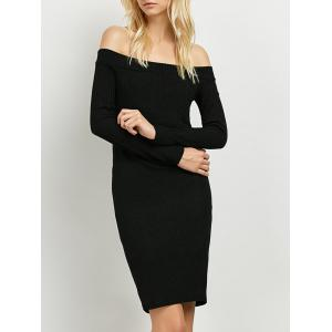 Long Sleeve Off The Shoulder Knitted Club Dress