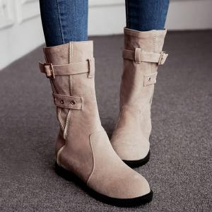 Buckle Strap Zip Embellished Mid Calf Boots -