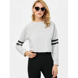Stand Collar Striped Panel Short Sweatshirt -