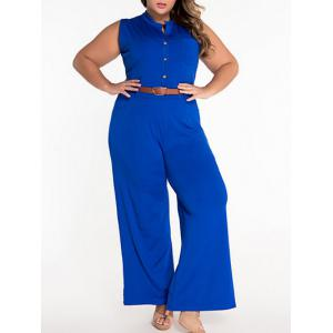Sleeveless Belted Plus Size Jumpsuit - Blue - L
