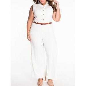 Sleeveless Belted Plus Size Jumpsuit - WHITE XL