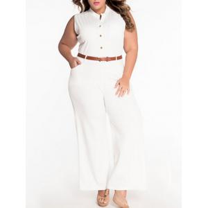 Sleeveless Belted Plus Size Jumpsuit - White - L