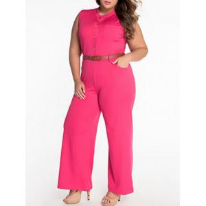 Sleeveless Belted Plus Size Jumpsuit -