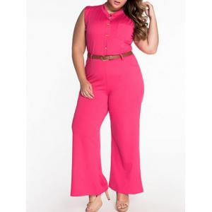 Sleeveless Belted Plus Size Jumpsuit