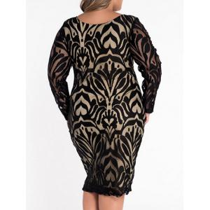 Scoop Neck Lace Patterned Plus Size Dress -