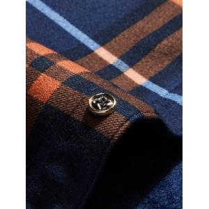 Checked Circle Print Spliced Pocket Flocking Shirt -