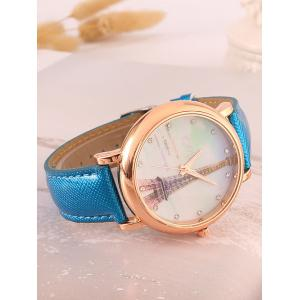 Rhinestone Eiffel Tower Quartz Watch - BLUE