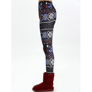 Christmas High Waisted Flocking Leggings - BLACK XL