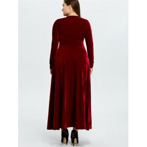 Velvet Plus Size Long Formal Dress with Sleeves - WINE RED 3XL