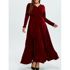 Velvet Plus Size V Neck Long Sleeve Maxi Dress
