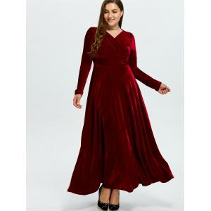 Wine Red 2xl Velvet Plus Size Maxi Flowy Dress | RoseGal.com