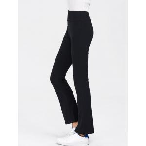 Elastic Waist Flare Pants - Black - Xl