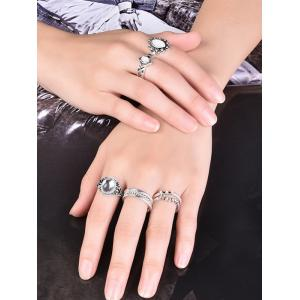 Artificial Opal Oval Ring Set - SILVER 7