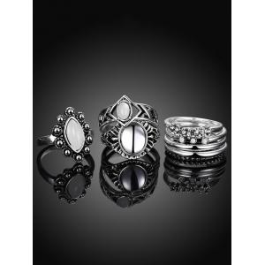 Artificial Opal Oval Ring Set - SILVER 6