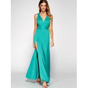 Cross Back Sleeveless Maxi Engagement Party Dress -