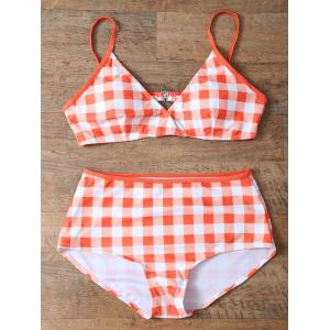 Checked High Rise Bikini Set -