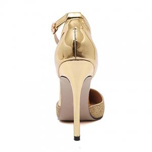 Two Piece Sequined Cloth Metal Toe Pumps - GOLDEN 39