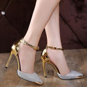 Two Piece Sequined Cloth Metal Toe Pumps -