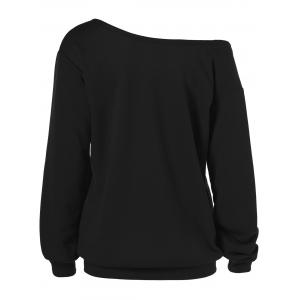 Skew Collar Love Plus Size Sweatshirt - BLACK 2XL