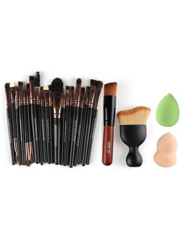 22 Pcs Face Eye Makeup Brushes and Makeup Sponges - Rose Gold