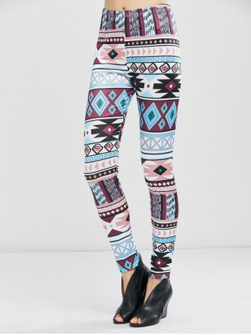 Fashion Geometrical Print Stretchy Leggings - XL GEOMETRIC PRINT Mobile