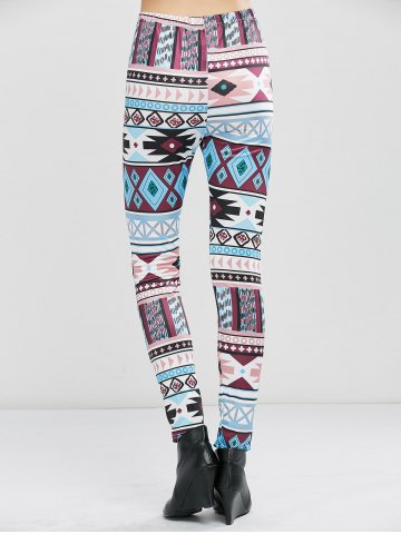 New Geometrical Print Stretchy Leggings - XL GEOMETRIC PRINT Mobile