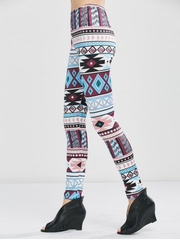 Sale Geometrical Print Stretchy Leggings - XL GEOMETRIC PRINT Mobile