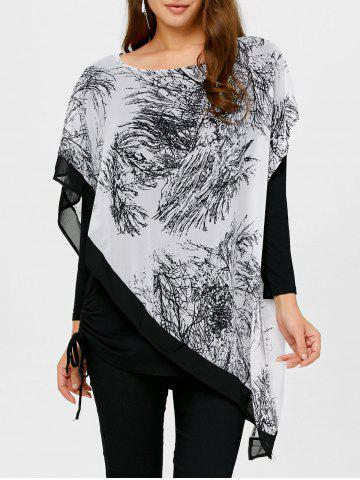Store Asymmetrical Chinese Painting Insert Blouse