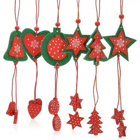 12PCS Christmas Tree Supplies Decoration Snowflake Hanging Pendants - RED