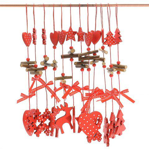 Buy 12PCS Christmas Decoration Supplies Wooden Hanging Pendants RED