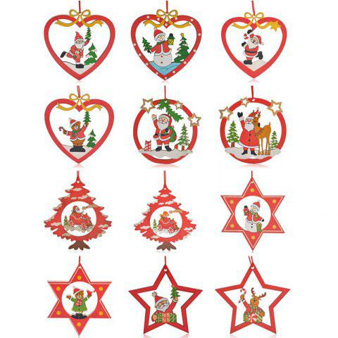 12PCS Santa Christmas Decoration Supplies Hanging Pendants - RED