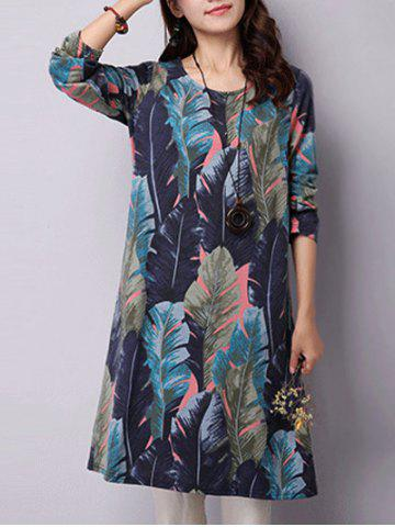 Chic Feather Printed Long Sleeve Swing Dress BLUE 2XL