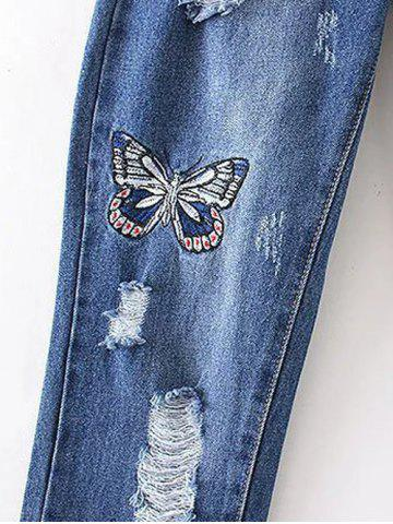 Online Butterfly Embroidery Ripped Jeans - M DENIM BLUE Mobile