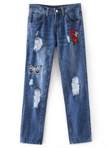 Cheap Butterfly Embroidery Ripped Jeans DENIM BLUE S