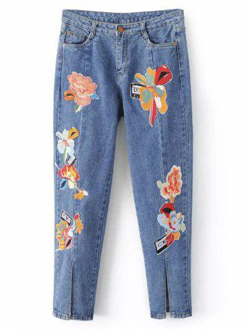 Online Slit Leg Low Rise Embroidery Jeans LIGHT BLUE L
