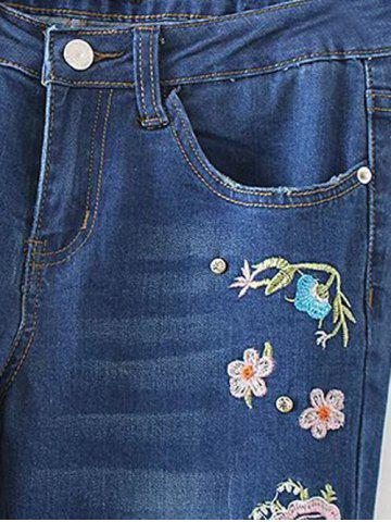 Store Bird Embroidery Bootcut Jeans - S DENIM BLUE Mobile