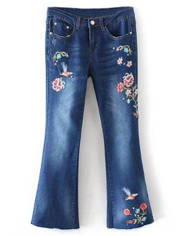 Sale Bird Embroidery Bootcut Jeans - S DENIM BLUE Mobile