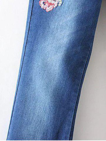 Buy Bird Embroidery Bootcut Jeans - S DENIM BLUE Mobile