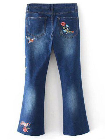 Online Bird Embroidery Bootcut Jeans - S DENIM BLUE Mobile