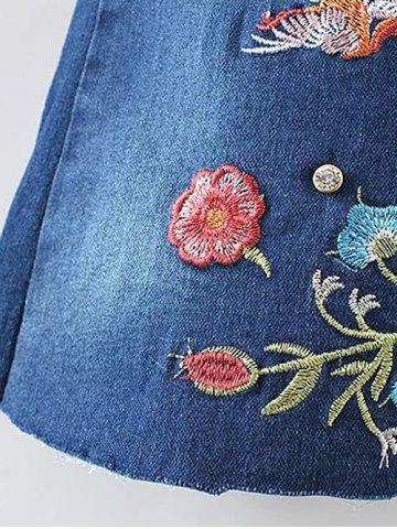 Hot Bird Embroidery Bootcut Jeans - S DENIM BLUE Mobile