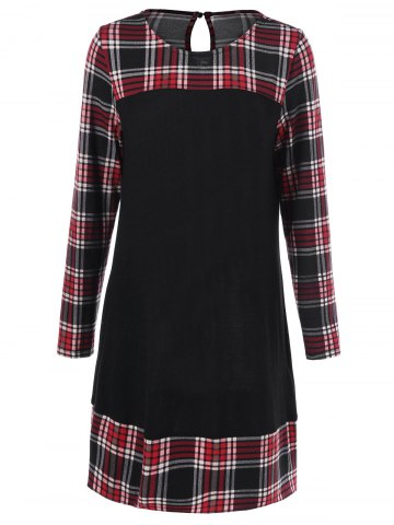Online Plus Size Plaid Long Sleeve Shift Dress