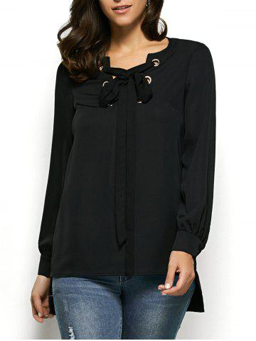 Trendy High Low Hem Lace-Up Blouse