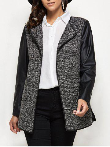 Fashion Collarless Faux Leather Insert Coat