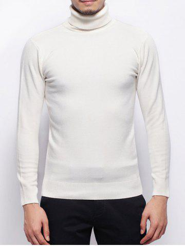 Affordable Stretchy Pullover Roll Neck Sweater WHITE 3XL